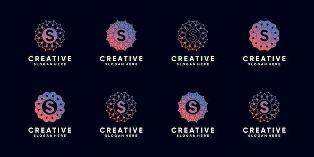 バンドルモノグラムロゴデザインテクノロジーの頭文字を線画とドットスタイルで設定します。プレミアムベクトル