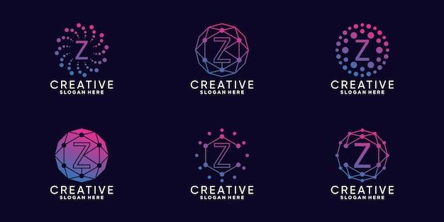 선형 및 도트 스타일로 번들 모노그램 로고 디자인 기술 초기 문자 z를 설정합니다. premium vector