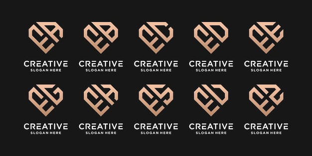 Set bundle monogram logo design template initial letter e combined with other. icons for business company and personal