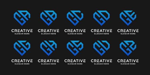 Set bundle monogram logo design template initial letter g combined with other. icons for business company and personal