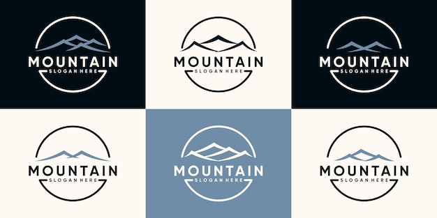 Set bundle of mountain logo design with line art style and circle concept premium vector