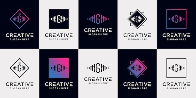 Set bundle music logo design collection initial letter g with unique concept premium vector