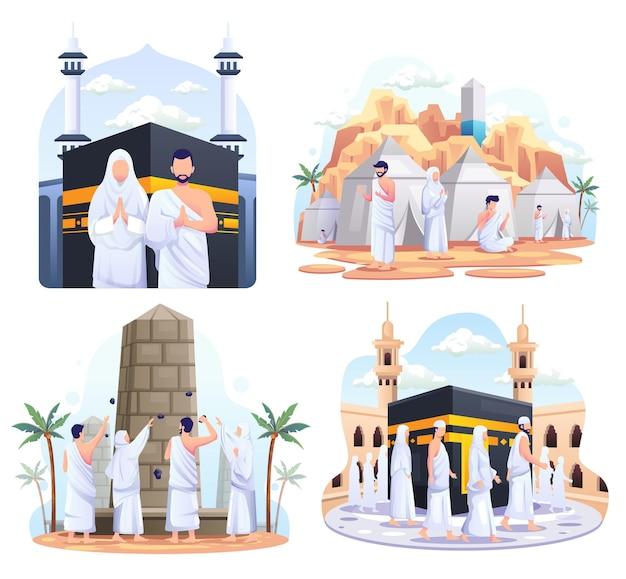 Set bundle of muslim couple is doing islamic hajj pilgrimage illustration