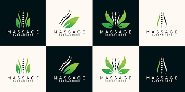 Set bundle of natural massage therapy logo design with hand bone and leaf premium vector