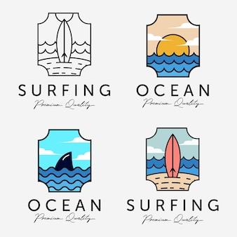 マリンサンセットホライゾンコンセプトデザインのビーチ休暇ベクトルロゴイラストのバンドルを設定します。