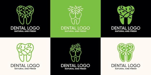 Набор шаблонов дизайна логотипа стоматологии и дерева в стиле линии premium векторы
