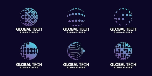 Установите пакет глобального дизайна логотипа для информационных технологий с современной концепцией premium векторы