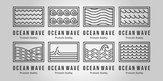 Набор минималистских волн логотип значок линии искусства вектор дизайн иллюстрации