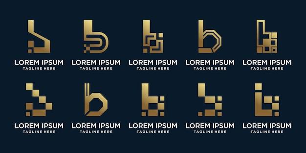 Установить связку логотипа с монограммой, буквица b с золотым градиентом цвета premium векторы