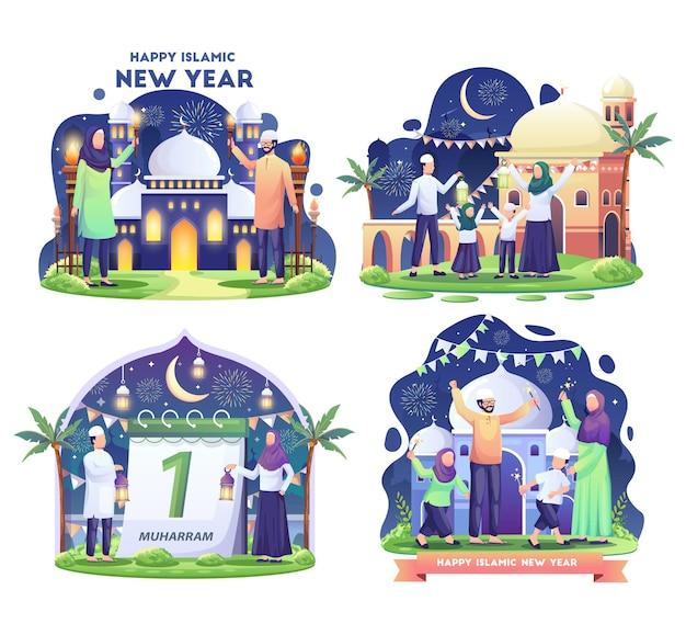 Набор мусульманской семьи, празднующей исламский новый год с иллюстрацией фестиваля факелов