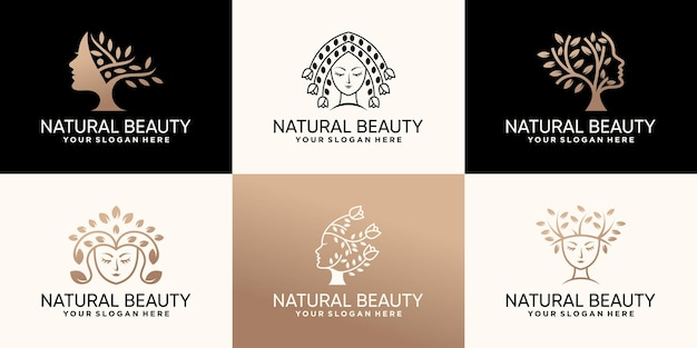 Набор из коллекции логотипов естественной красоты с концепцией цветов и деревьев premium векторы