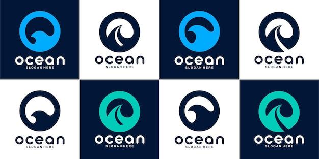 Установить связку логотипа океана и простой концепции логотипа премиум векторы