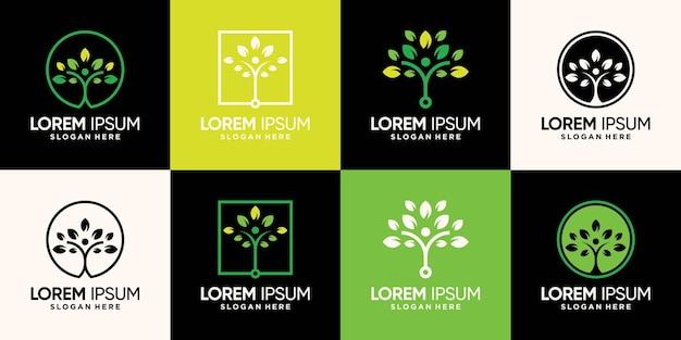 Набор дизайн логотипа дерева людей с уникальной современной концепцией premium векторы