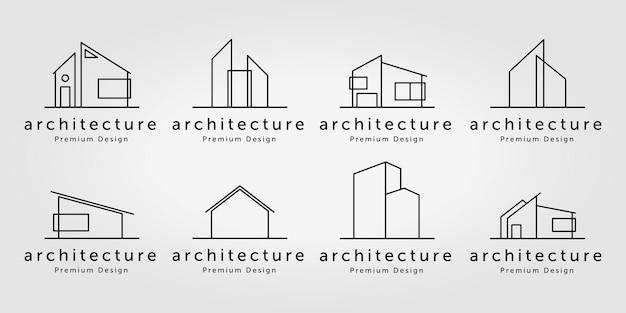 부동산 홈 디자인 영감 로고 벡터 라인 아트 그림의 번들 설정