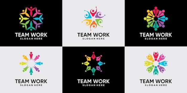 創造的なモダンなコンセプトプレミアムベクトルでチームワークコミュニティのロゴデザインのバンドルを設定します