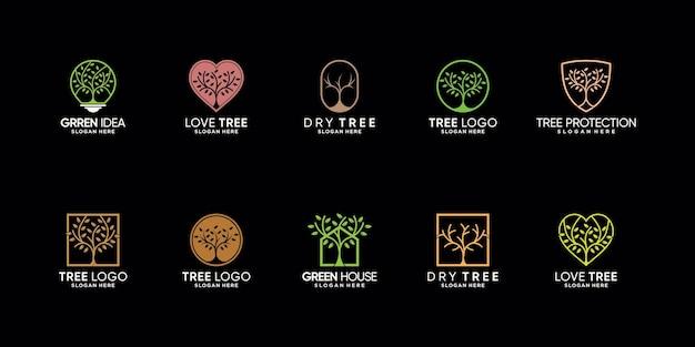 創造的なモダンなコンセプトプレミアムベクトルとツリーのロゴデザインのバンドルを設定します。