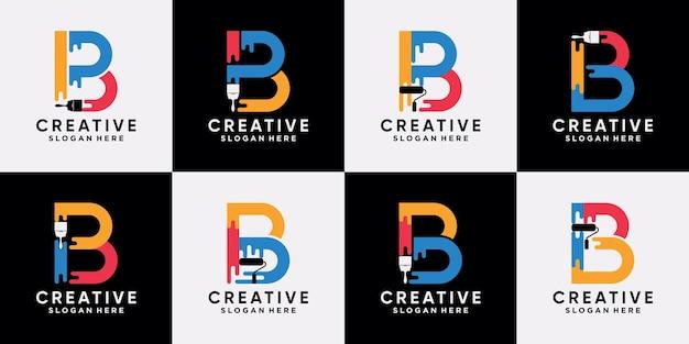 Установить пакет краски логотипа шаблон дизайна начальной буквы b с креативной современной концепцией premium векторы