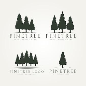 Set bundle of pine tree landscape vintage logo template vector illustration design