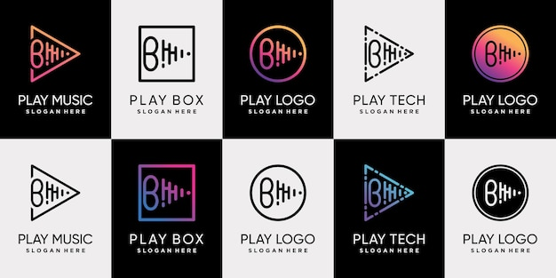 Set bundle of play music logo design with initial letter b and unique line art style premium vector