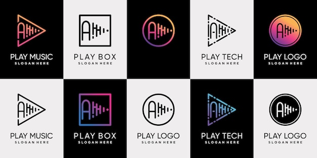 Set bundle of play music logo design with initial letter a and unique line art style premium vector