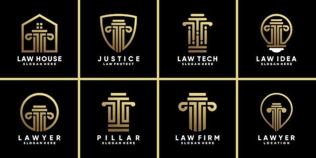 황금 그라데이션 스타일 색상으로 법률 로고 디자인 템플릿의 번들 기호 설정