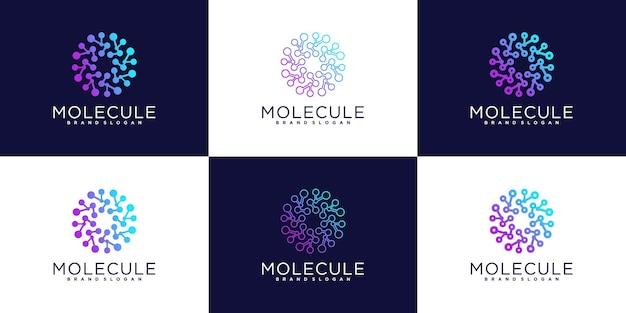 Set of bundle technology globe logo with unique molecule concept, world tech logo template premium vector