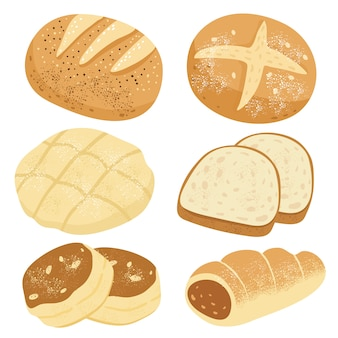 Set of buns and breads.