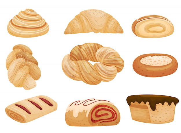 Set of buns with different fillings and sprinkles.  illustration on white background.
