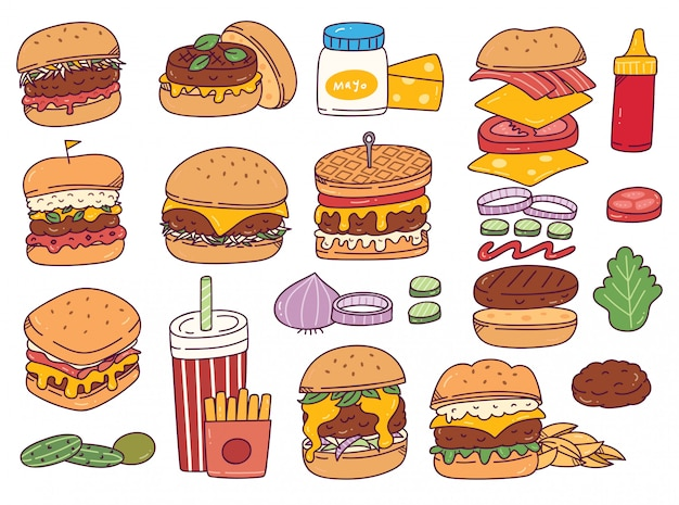 Set of burger doodles