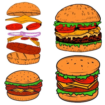 Set of burger illustrations.  elements for poster,menu, label, badge, sign.  illustration