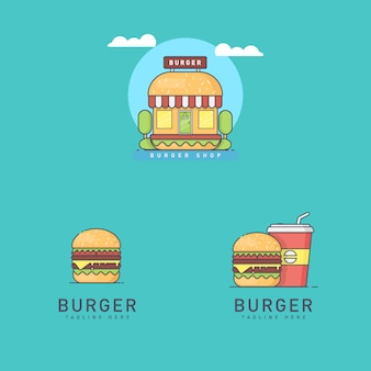 Set of burger logos