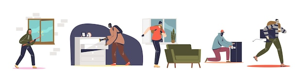Set of burglars robbing houses and safes. criminal men in masks housebreaking for robbery. male robbers stealing from houses after breaking. flat vector illustration