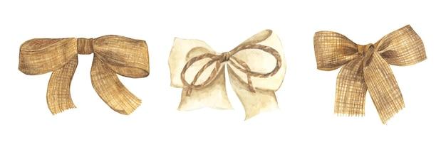 Set of burlap bow and ribbon. watercolor illustration.