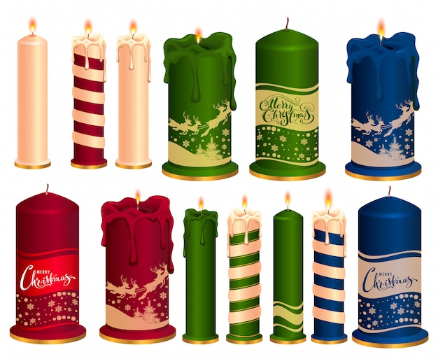 Set of burning decorative christmas candles