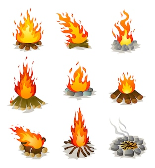 Set of burning hot campfire with tree wood and stones