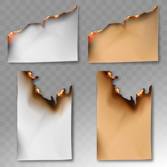 A set of burnt paper. vector realistic template