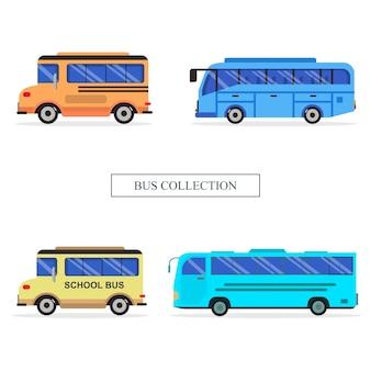 Set bus vehicle collection illustration