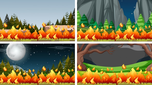 Set of bush fire landscape background