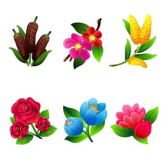 Set of bush foliage flower collection
