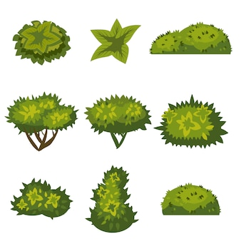 Set of bushes for games, applications, floral cartoon style