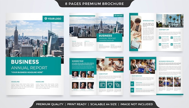 Set of business annual report template