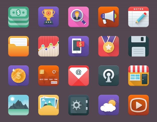 Set of business app icons