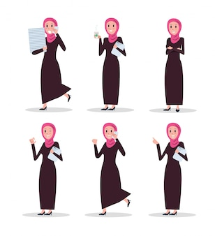 Set of business arab woman character with hijab