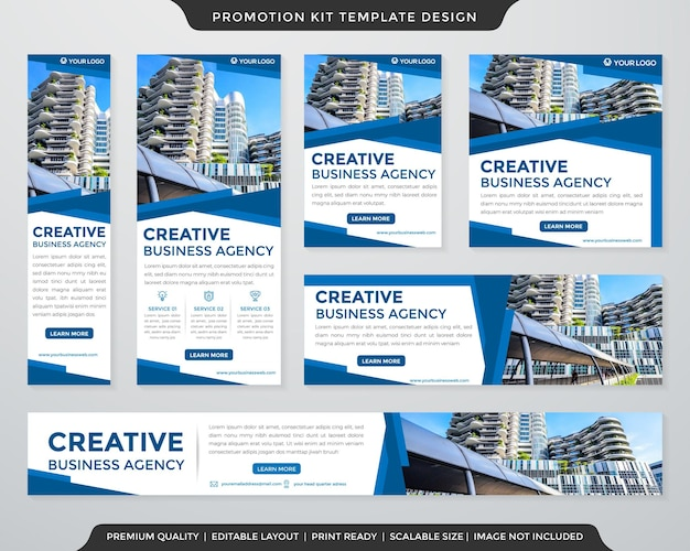Set of business banner promotion kit template design with modern layout