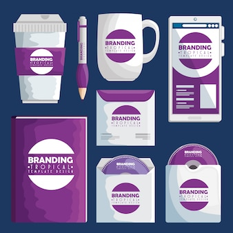 Set business branding tropical product design