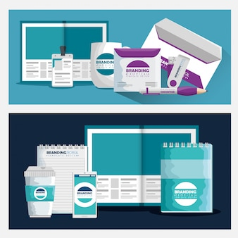 Set of business brochure with branding product style