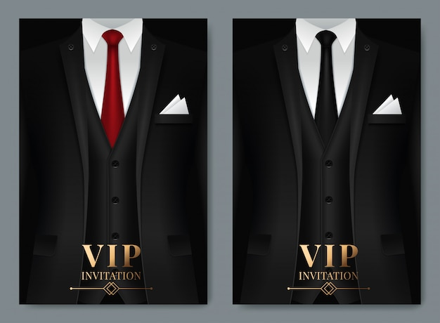 Of set of business card templates with suit and tuxedo