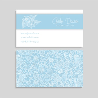 Set of business card with zentangle hand drawn flowers.