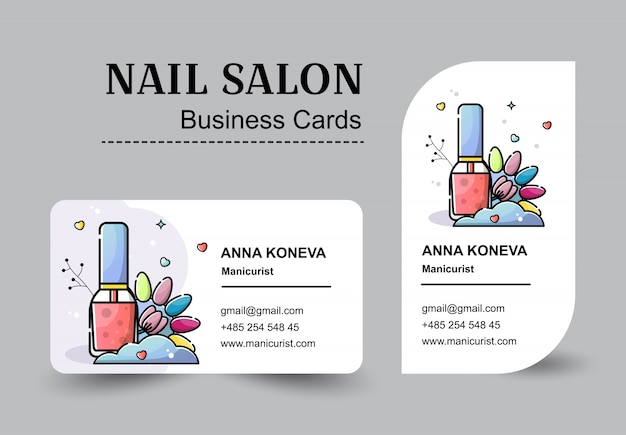 Set of business cards for nail salon