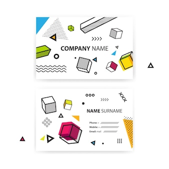 Set of business cards. pop art geometric background with colorful graphic elements.